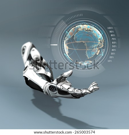 Futuristic Design of Robot Arm Mechanical fingers under holographic virtual earth - stock photo