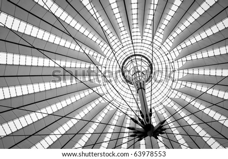 futuristic design of roof in Berlin, black and white picture, Germany - stock photo