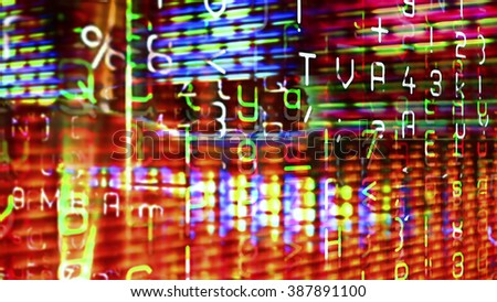 Futuristic digital technological display 10739 with numbers, letters and light effects. - stock photo