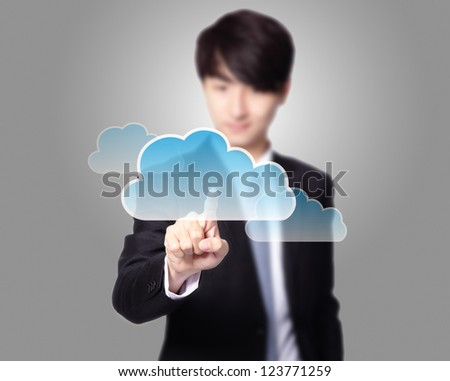 futuristic display: Cloud computing touchscreen interface, business man finger touch cloud with gray background, asian model