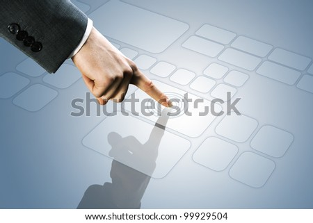 futuristic display:  touchscreen interface - stock photo