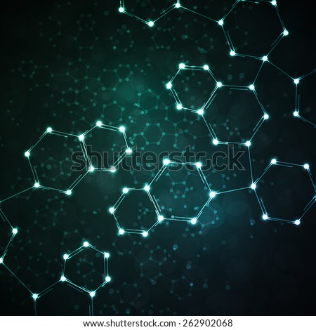 Futuristic dna, abstract molecule, cell illustration - stock photo