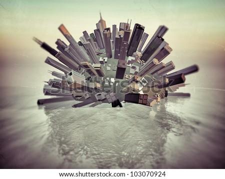 futuristic downtown sinking down the sea - stock photo