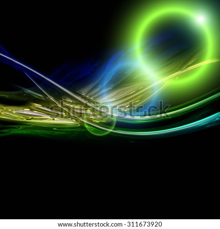 futuristic eco wave background design with lights - stock photo