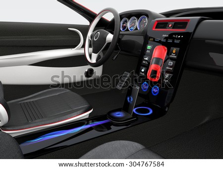 Futuristic electric vehicle dashboard and interior design. There is full size touch screen at the center of the dashboard. 3D rendering image with clipping path.