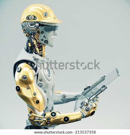 Futuristic Engineer in yellow hardhat holding tablet/ Engineer - stock photo