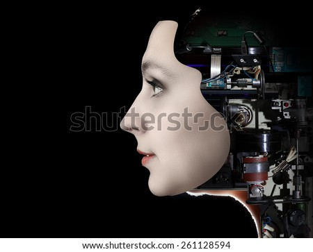 Futuristic female android  - stock photo