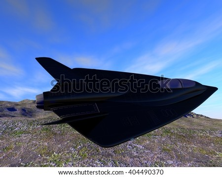 futuristic fictional black stealth fighter airplane flying by clear weather.3D illustration
