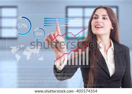 Futuristic financial graphs on digital transparent screen or display as global economy growth concept - stock photo