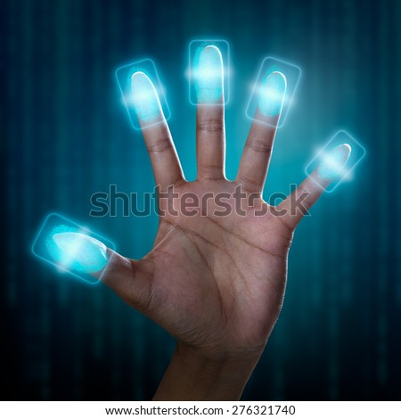 Futuristic fingerprint scanning device biometric security system - stock photo