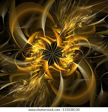 Futuristic flower on black background. Abstract background. - stock photo