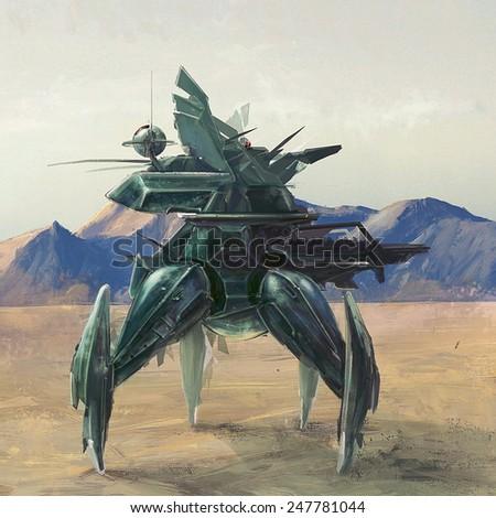Futuristic four leg robot on lost post apocalyptic planet concept art - stock photo
