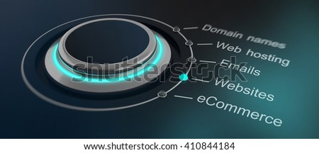 Futuristic green glowing round button or dial with internet and website marketing terms to select. 3d Rendering. - stock photo
