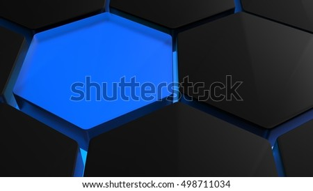 Futuristic hexagons - 3D Rendering