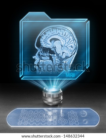 Futuristic holographic computer showing scan from magnetic resonance. - stock photo