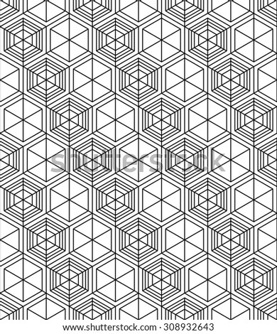 Futuristic illusive abstract geometric seamless pattern with cubes. Stylized texture.