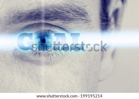 Futuristic image with word Goal using human eye as the letter o. Conceptual of business, education or life goals. - stock photo