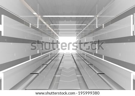 Futuristic Interior empty room with white reflective materials - stock photo