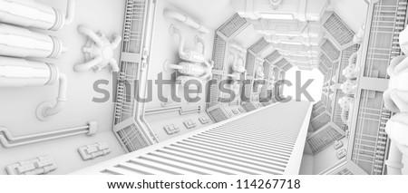 futuristic Interior of a spaceship clean white - stock photo
