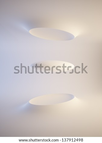 futuristic interior space, 3d rendering - stock photo