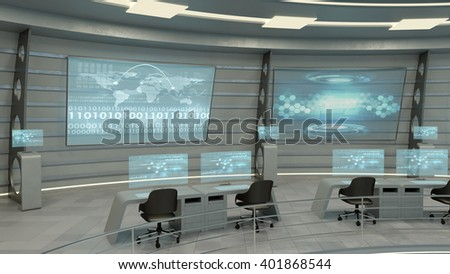 Futuristic interior view. 3D rendering. - stock photo