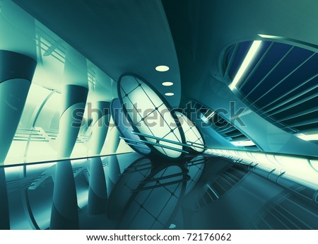 futuristic interior with glowing lights - stock photo