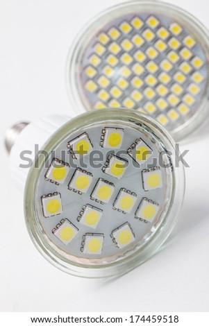 futuristic led lightbulb lamps - stock photo