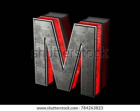 Futuristic letter M - black metallic extruded letter with red light outline glowing in the dark 3D render