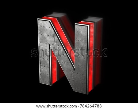 Futuristic letter N - black metallic extruded letter with red light outline glowing in the dark 3D render
