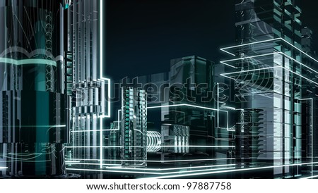 futuristic megalopolis3 - stock photo