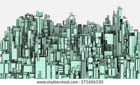 Futuristic Megalopolis City Of Skyscrapers 37 - stock photo