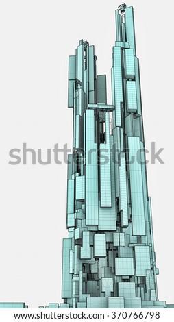 Futuristic Megalopolis City Of Skyscrapers Vector 35 - stock photo