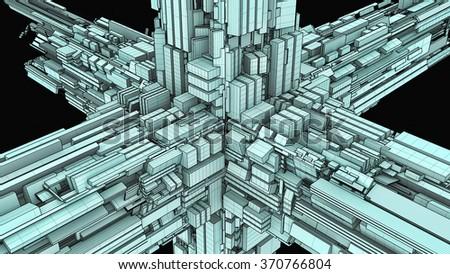 Futuristic Megalopolis City Of Skyscrapers Vector 34 - stock photo