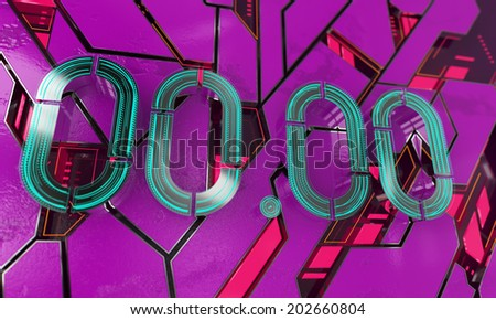 Futuristic metal clock engine. Straight lines represent scientific background. Advanced technology, purple and cyan colors. High quality 3D render. Atoms, neurons, electronics and science. - stock photo