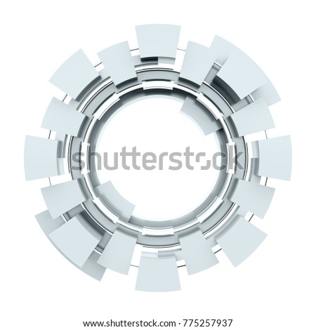 Futuristic metallic circle isolated on white background 3D render