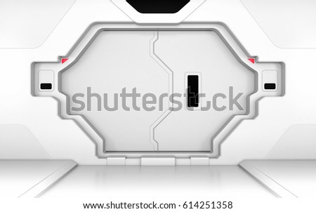 Futuristic metallic door, gate or entrance in spaceship interior 3D render