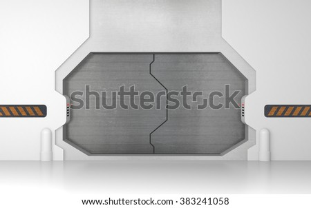 Futuristic metallic door or gate - stock photo