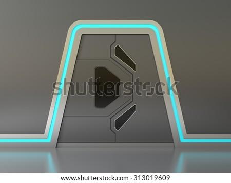 Futuristic metallic door or gate with blue lights & Futuristic Metallic Door Gate Blue Lights Stock Illustration ...
