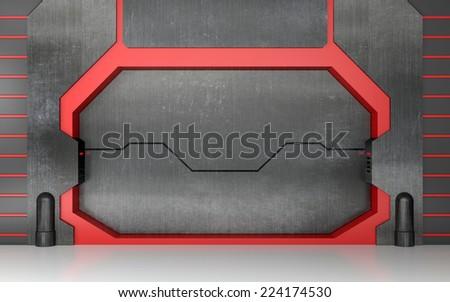 Futuristic metallic gate - stock photo