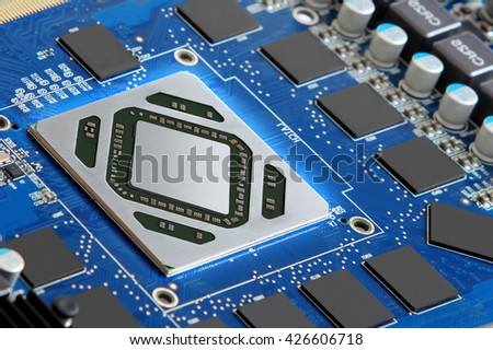 Futuristic microprocessor and electronic components - stock photo