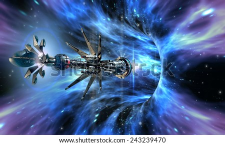 Futuristic military spacecraft entering a wormhole, for alien fantasy games or science fiction backgrounds of interstellar deep space travel - stock photo