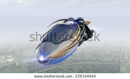 Futuristic military spacecraft or surveillance drone for alien fantasy games or science fiction backgrounds of interstellar deep space travel - stock photo