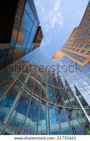 futuristic office building - stock photo