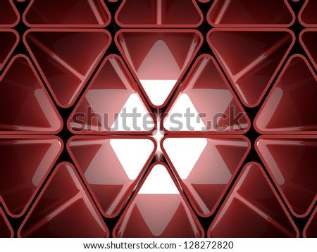 Futuristic red triangle concept - stock photo