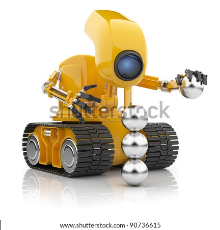 Futuristic robot hold sphere.  Artificial intelligence concept. 3D isolated on white. - stock photo