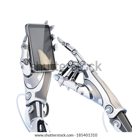 Futuristic robot holding glossy smartphone with artifical hand and touching it by finger isolated on white background. - stock photo