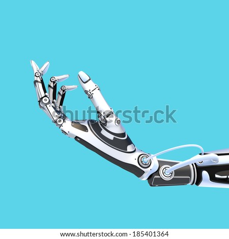 Futuristic robot holding glossy smartphone with artifical hand isolated on blue background - stock photo