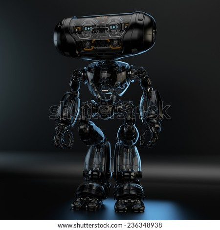 Futuristic robotic creature/ Unusual cyber toy with black metal parts - stock photo