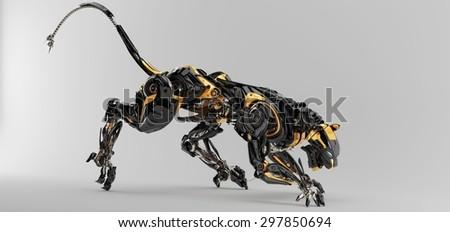 Futuristic robotic predator panther 3d render / Artificial panther  - stock photo