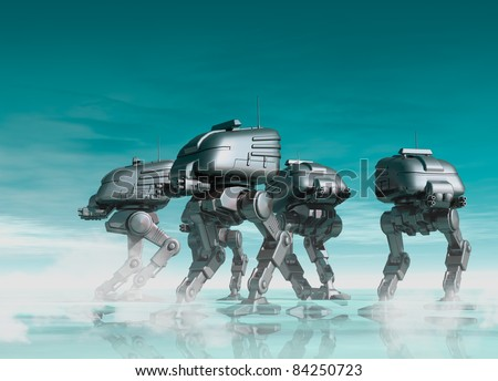 Futuristic robots are seen walking over a reflective surface in a military fashion